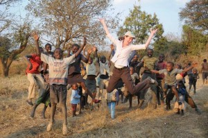 Jumping in Zambia with some children