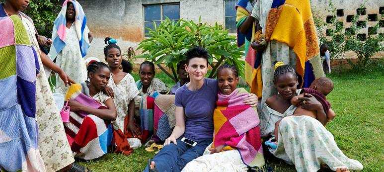 Lucy Perry with patients in Ethiopia