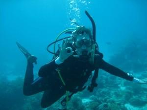 """Telana giving the diving """"okay"""" signal"""